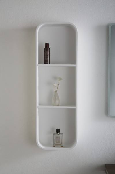 Półka ścienna Pb4206 Do łazienki Z Odlewu Mineralnego Biała 30x15x90cm
